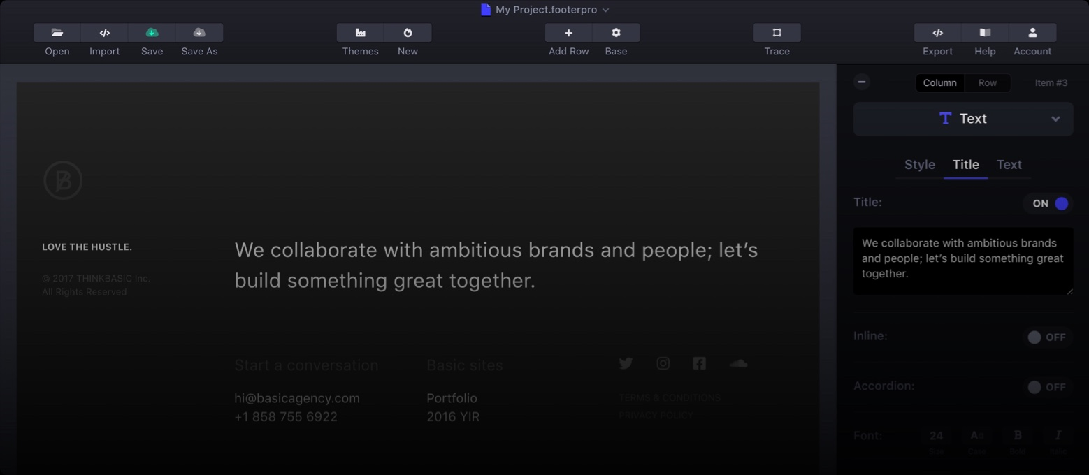 Footer Pro for RapidWeaver website footers